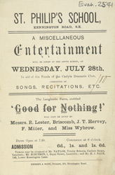 Advert for an evening's entertainment at St Philip's School